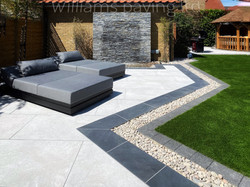 Sit and relax next to this water feature made from Natural Wall Cladding