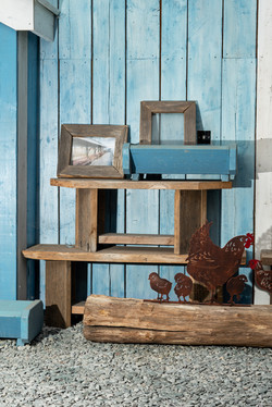 Wooden benches, troughs and picture frames