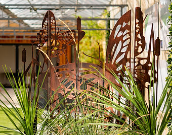 garden decorative screen in copper butterfly design for the outdoors