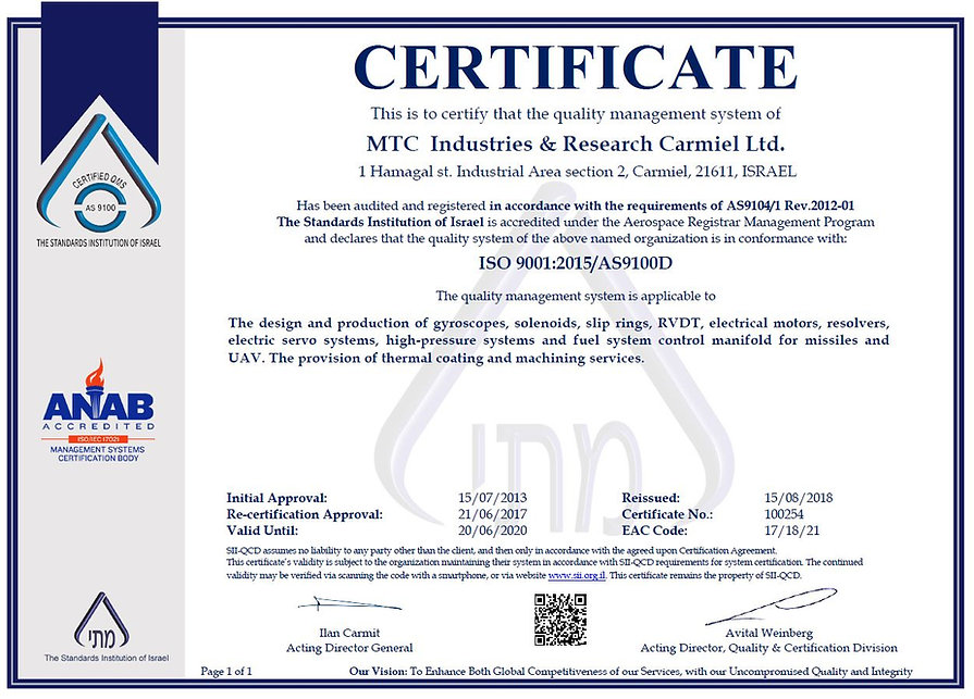 MTC Certificate ISO9001 AS9100