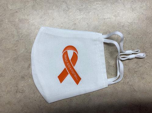 Reids Rebels Leukemia Mask, White/Orange Ribbon
