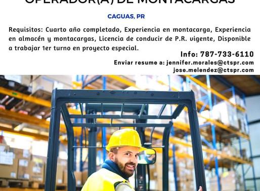 Se busca Operador de Montacargas - Caguas, PR