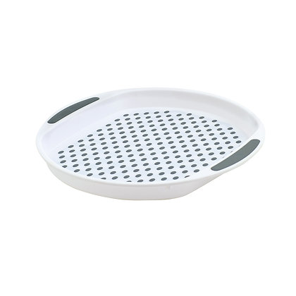 Round Non-Slip Serving Tray - White