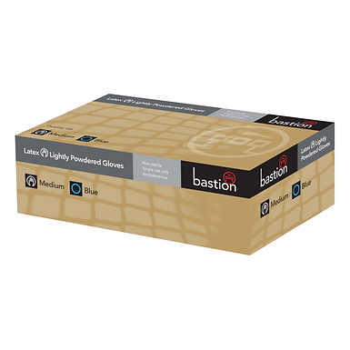 Bastion Gloves Large - Latex Lightly Powered Blue Smooth Texture Box 100