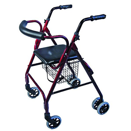 Seat Walker with Compression Brakes and Curved Backrest, Red