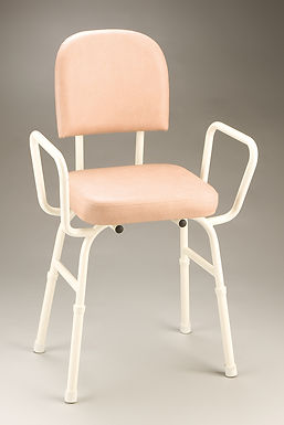 CQ Kitchen Perching Stool with Arms  - Champagne Vinyl
