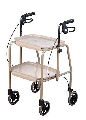 Adjustable Height Trolley Walker, Beige SWL 125kg