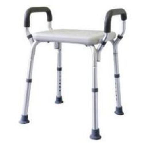adjustable shower stool with arms aluminium dva approved - Shower Stool