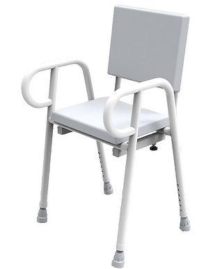 Shower Stool Chair Padded with Backrest Aluminium 52CM SWL 250kg