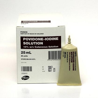 Povidone Iodine Solution BP 25ml Plastic Tubes Box of 20