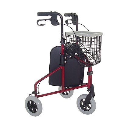 Aluminium Tri-Walker with Basket and Tray