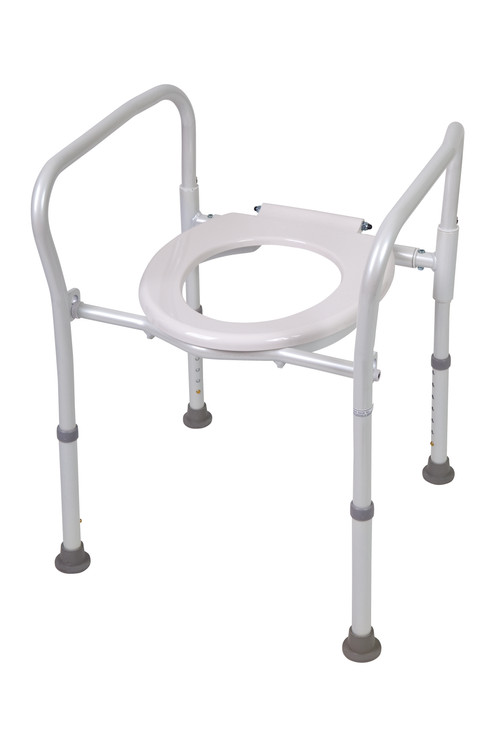 folding aluminum toilet seat raiser the folding frame ensures compactness in small spacesconstructed of aluminum the frame is height adjustable and weighs