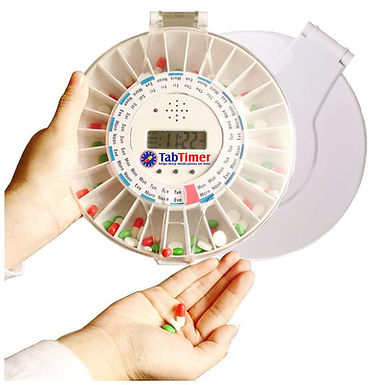 Tab Timer Automated Pill Dispenser (2 lids solid white and clear).