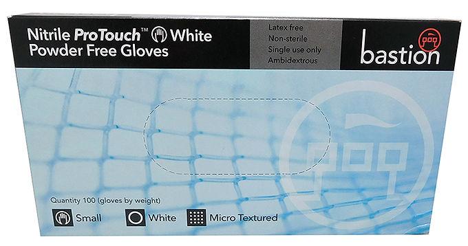 Bastion Gloves - Nitrile ProTouch Small Powder Free White 100/Box