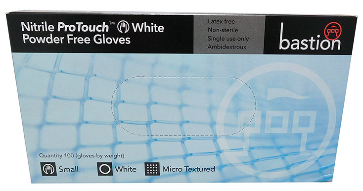 Bastion Gloves - Nitrile ProTouch Small Powder Free White 100/Box