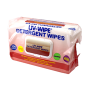 Liv-Wipe Detergent Wipes, 22 x 28cm, Nonwoven, Alcohol Free, Neutral pH, 200