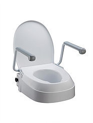 Fixed Raised Toilet Seat with Arms, adjustable seat heights 60mm, 100mm, 150mm
