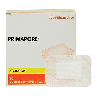 Primapore Dressing Low Adherent Pad Cloth Backing 7.2 x 5cm Box of 50