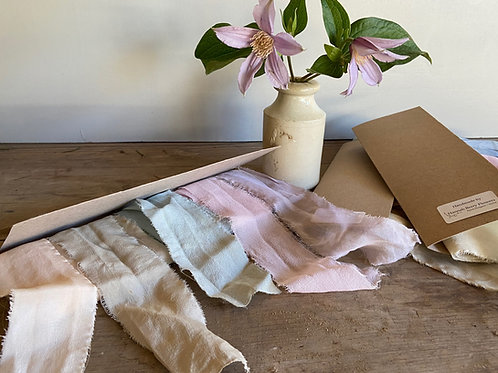 Plant Dyed Silk Ribbon Bundle