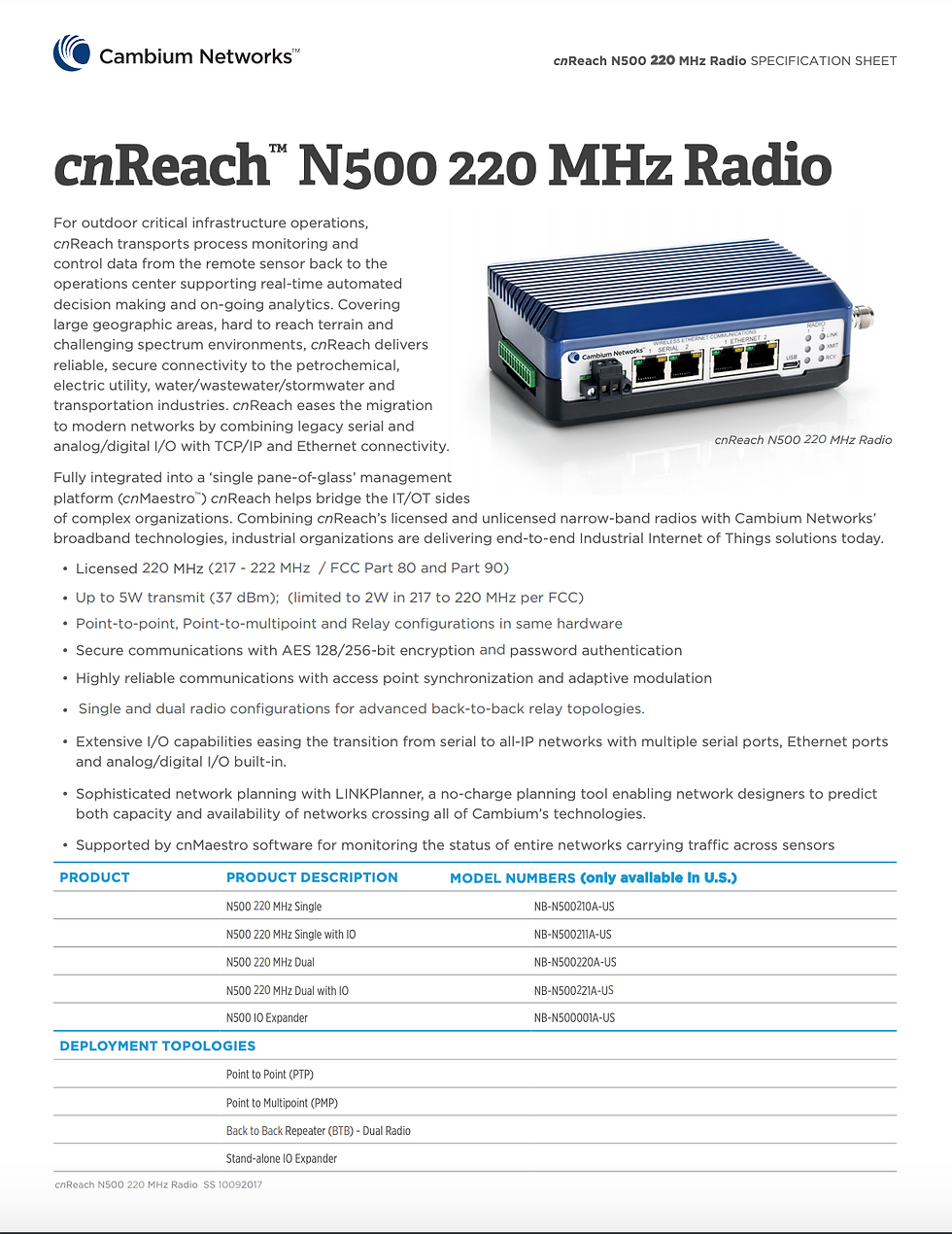 cnReach N500 220 MHz Specifications Sheet