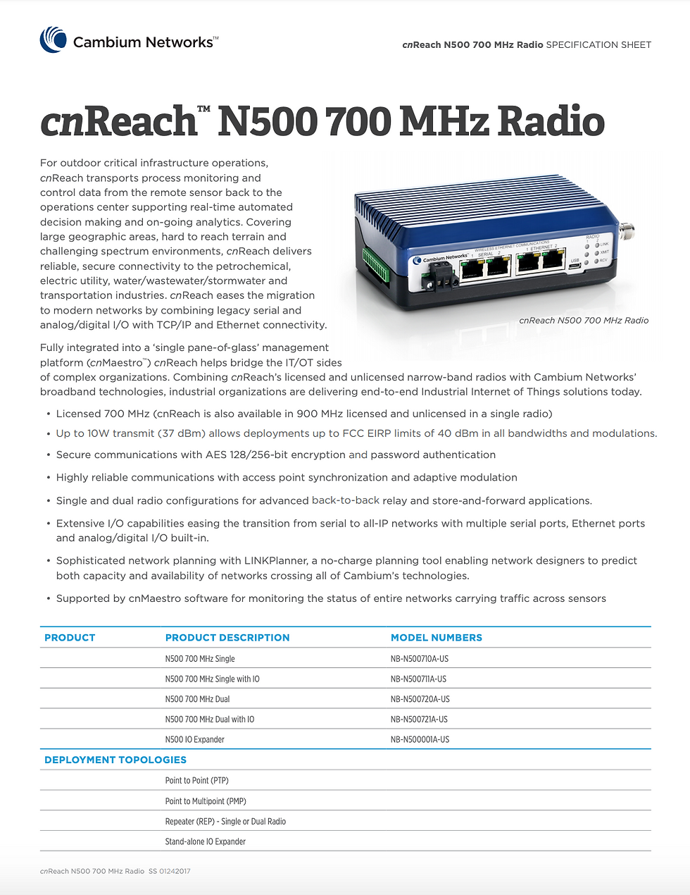 cnReach N500 700 MHz Specifications Sheet