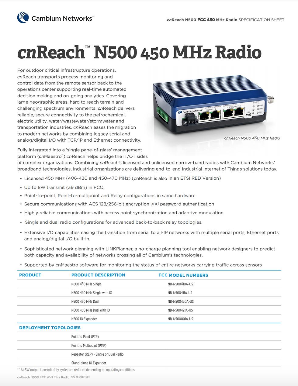 cnReach N500 450 MHz FCC Specifications Sheet