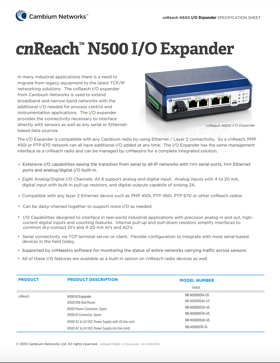 cnReach N500 IO Expander Specifications Sheet