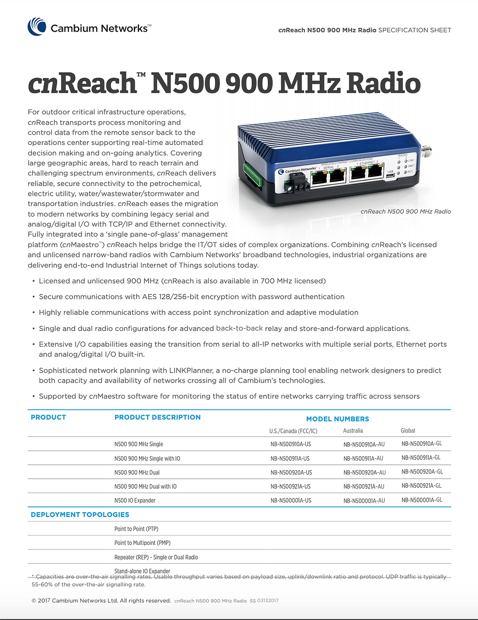cnReach N500 900 MHz Specifications Sheet