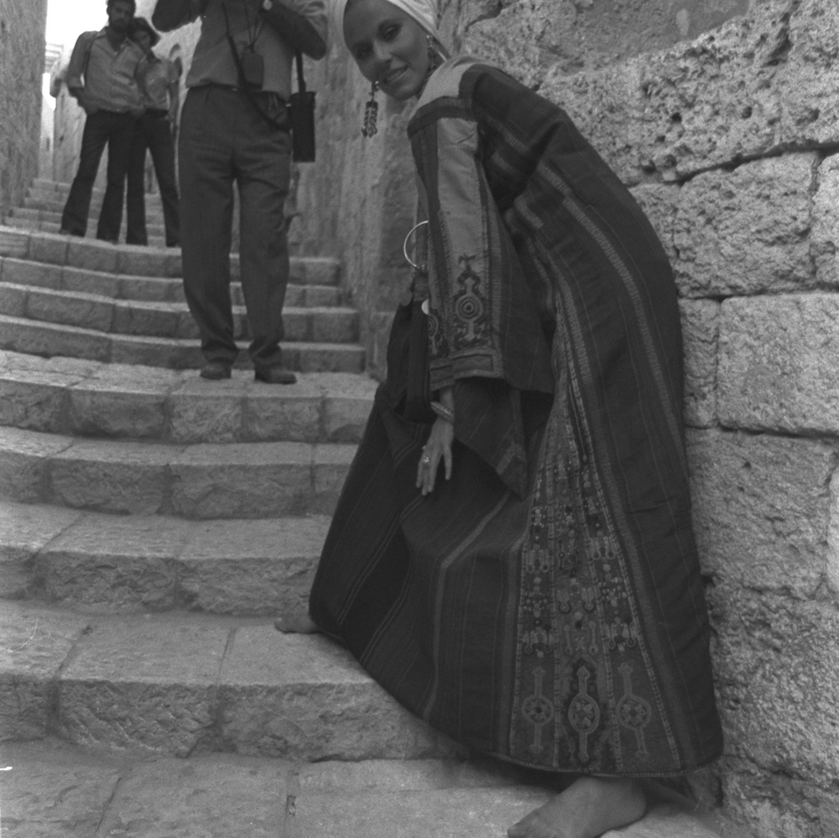 "ORIATAL ""MASKIT"" GOWN MODELLED IN OLD JAFFA. 1970"