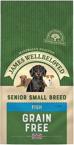 James Wellbeloved Dog Food Fish & Veg Senior Small Breed Grain Free 1.5kg