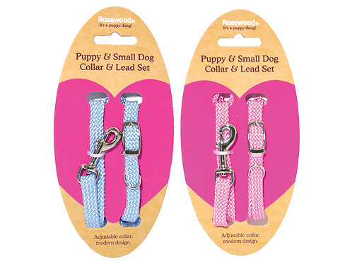 Rosewood Puppy Collar & Lead Set - Soft Weave Blue/Pink