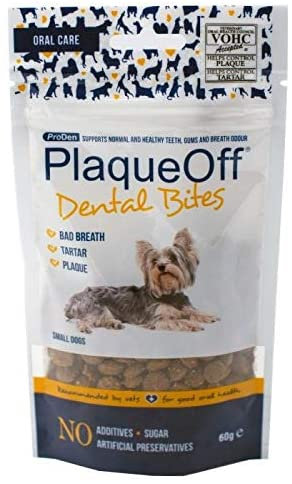 PlaqueOff Dental Bites for Small Dogs & Cats 60g