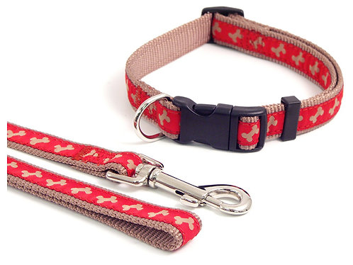 Rosewood Wag 'N' Walk Red/Beige Bone Lead