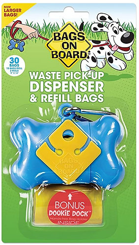 Bags on Board Dog Poop Pick-Up Bone Dispenser and Refill Bags, Blue