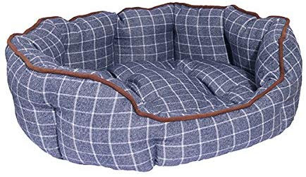 Rosewood Oval Marine Check Dog Bed - Small
