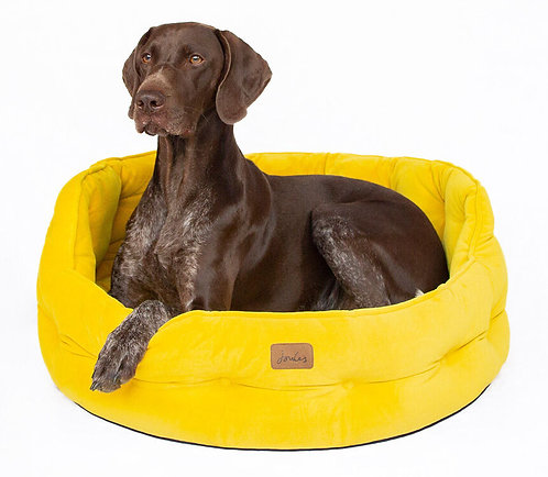 Joules Velvet Chesterfield Dog Bed Yellow - Large