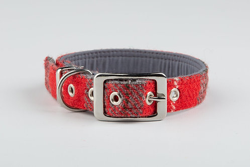 Collared Creatures Red And Grey Check Harris Tweed Luxury Dog Collar