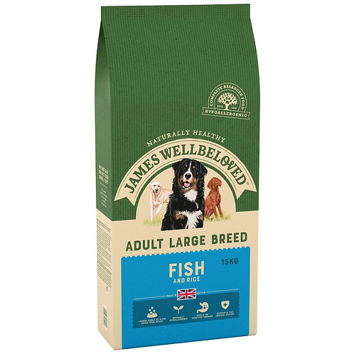 James Wellbeloved Complete Dry Adult Large Breed Dog Food Fish and Rice, 15 kg