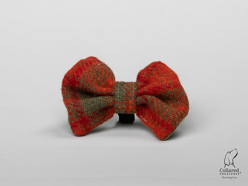 Collared Creatures Orange & Olive Check Luxury Harris Tweed Dog Bow Tie