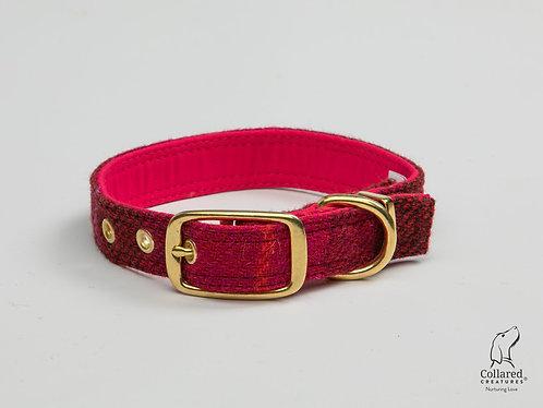 Collared Creatures Deep Fushia Check Luxury Harris Tweed Dog Collar