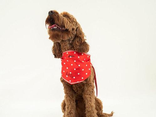 "Joules Red ""Hello"" Polka Dot Dog Neckerchief"