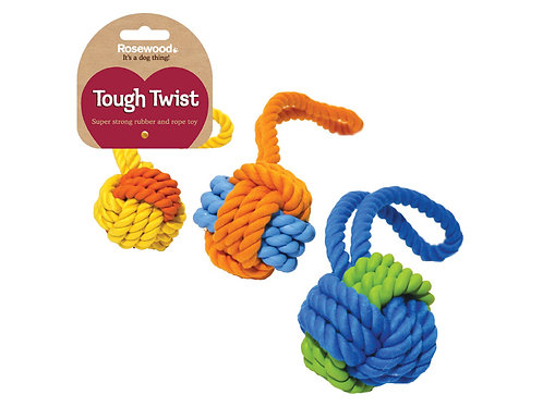 Rosewood Tough Twist Rubber & Rope Ball Tug 3.25""