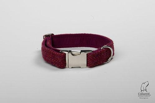 Collared Creatures Raspberry & Coral Herringbone Harris Tweed Dog Collar