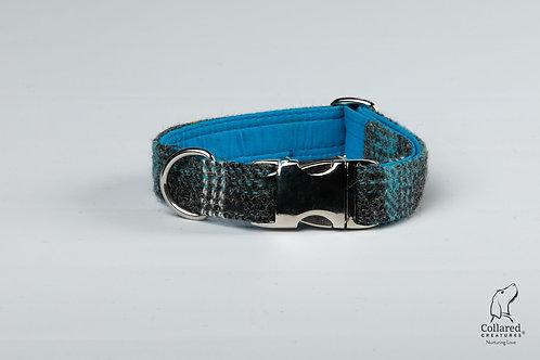 Collared Creatures Grey & Blue Check Luxury Harris Tweed Dog Collar