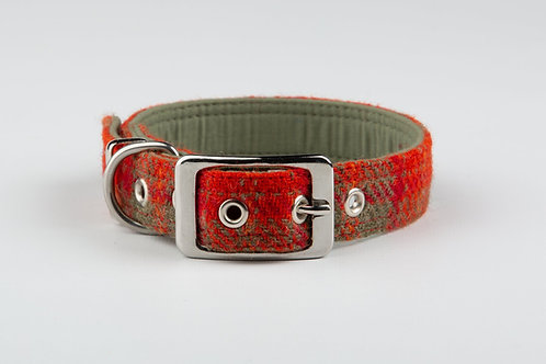 Collared Creatures Orange And Olive Check Harris Tweed Luxury Dog Collar Regular