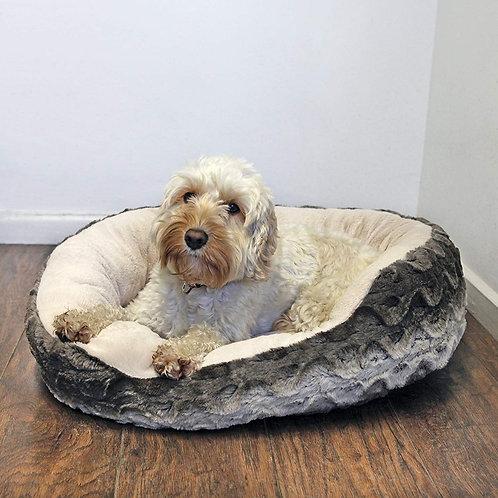 Rosewood Oval Grey & Cream Snuggle Plush Dog Bed - Small
