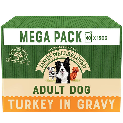 James Wellbeloved Dog Turkey and Rice Adult Pouch 40 x 150g
