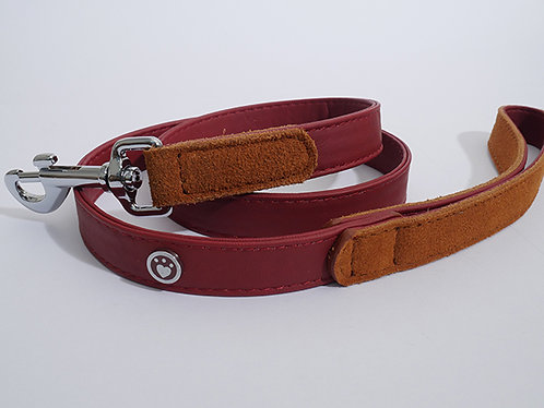 Rosewood Luxury Leather Dog Lead - Soft Touch Red