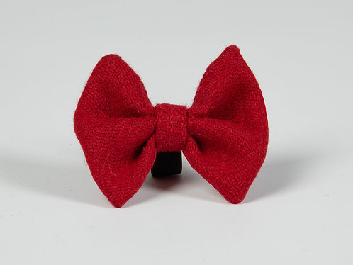 Collared Creatures Simply Red Luxury Harris Tweed Dog Bow Tie