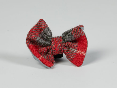 Collared Creatures Red & Grey Check Luxury Harris Tweed Dog Bow Tie